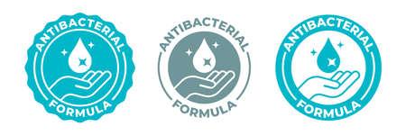 Icône de désinfectant antibactérien pour les mains, logo vectoriel antiseptique pour le lavage des mains de formule antibactérienne. Désinfectant antibactérien à l'alcool, protection des mains médicales pour l'hygiène propre du coronavirus Covid