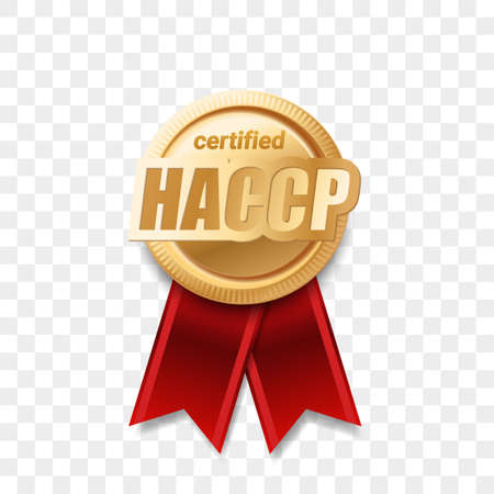HACCP certified award ribbon, food safety and quality badge, vector golden medal. HACCP certificate gold guarantee stamp, certification control warranty sign, Hazard analysis critical control points Vettoriali