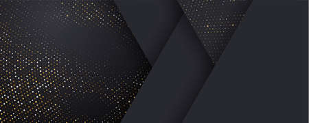 Background, black and gold halftone shine dots on geometric triangle pattern, vector. Golden confetti glitter on black gradient background, glittery polygon or 3d abstract card layout