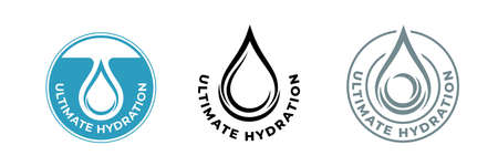 Hydration water drop icon, moisturizing skincare cosmetic products, vector package logo. Ultimate hydration effect formula icon for moisturizer, skincare cream, lotion and hyaluronic acid serum