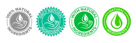 Natural ingredients product icon, green organic bio vector logo with hand and water drop. 100 percent only natural ingredients made, pure organic eco label certificate stamp for natural products Vettoriali