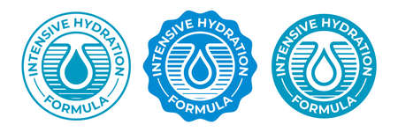 Hydration icon, moisturizing water drop vector logo for cosmetic products package. Intensive hydration effect formula icon for moisturizer, skincare cream and hyaluronic acid serum