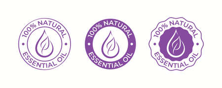 Essential oil drop and leaf icon for beauty and skincare natural product certificate tag. 100 percent essential oils sticker   for body lotion, cream and shampoo moisturizer, spa wellness fragrance Vettoriali