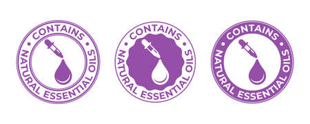 Essential oil contain, drop and dropper icon, beauty and skincare products vector tag. Contains natural essential oils, cosmetic sign with oil droplet and pipette