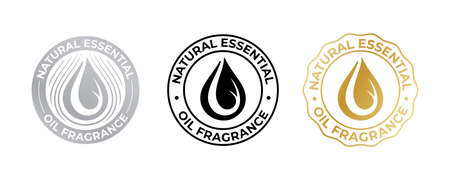 Oil drop icon for natural essential fragrance, vector cosmetic and beauty skincare quality sticker. Essential oil enriched and contains natural fragrance sign tag with oil droplet Vettoriali