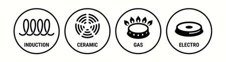 Induction icon, ceramic, gas and electric cooking hob vector symbols. Coking stove or oven grate cooker and pans surface cookware icons of induction, electro, gas and ceramic  signs Vettoriali