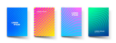 Abstract pattern gradient background, vector templates. Modern geometric design with abstract minimal halftone color gradient, wave line shapes effect for brochure presentation cover template Vettoriali
