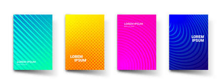 Pattern gradient background abstract vector templates. Modern geometric design with abstract minimal gradient line shapes and halftone effect for brochure cover, presentation or flyer template Vettoriali