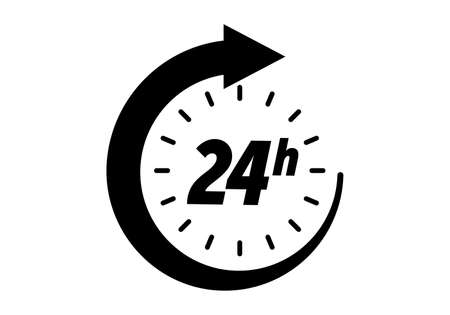 24 hours icon, vector clock open time service or delivery, 7 days a week and 24 hr clock arrow sign