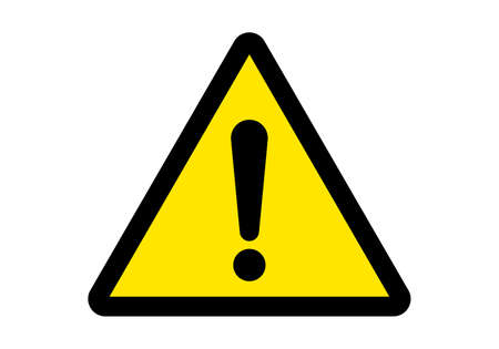Attention sign or warning caution exclamation sign, danger alert vector yellow triangle