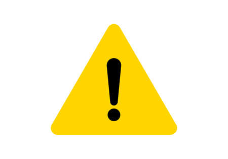 Warning sign attention caution exclamation sign, alert danger, vector yellow triangle icon