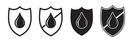 Waterproof icon, drop and shield, water proof resistant vector  . Impermeable hydrophobic absorption, waterproof fabric liquid rainproof symbol