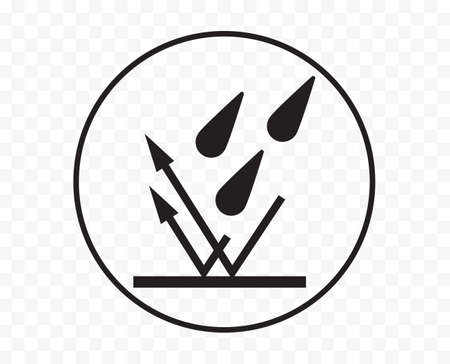 Waterproof icon, water and rain liquid resistant fabric  , vector. Waterproof drop and impermeable wet protection symbol