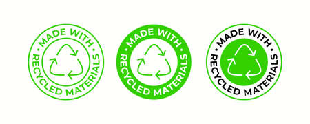 Recycling icon, made of recycled material package sign, vector. Recycling plastic bag or biodegradable and eco safe and bio recyclable package stamp