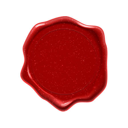 Wax seal red stamp, guarantee certificate, warranty and premium quality label Stockfoto