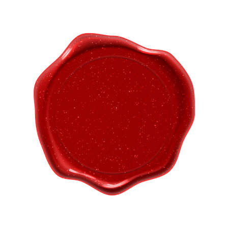Red wax seal stamp, guarantee certificate and premium quality label