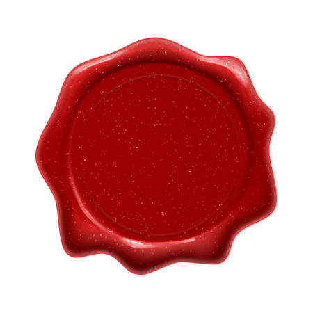 Red wax seal stamp, certificate, diploma and premium quality guarantee label