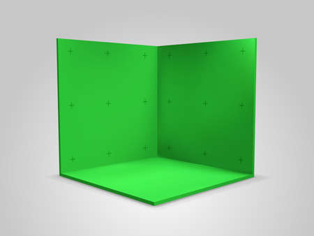 Green chroma key screen background with tracking markers, vector isometric studio room mockup. Chroma key greenscreen studio with camera trackers.