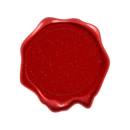 Wax seal stamp, guarantee certificate, warranty and premium quality label, royal red wax seal