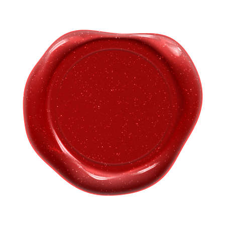 Wax seal red stamp of certificate, diploma and premium quality guarantee or warranty label