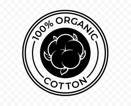 Cotton icon, organic eco and bio natural vector logo. 100 percent cotton products package tag stamp
