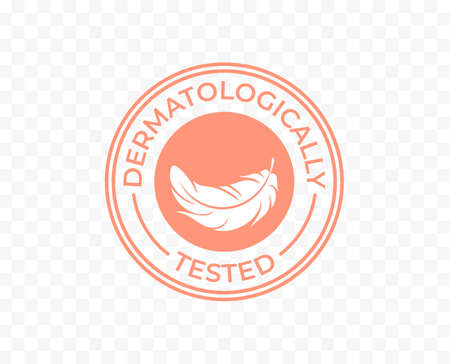 Dermatologically tested icon, moisturizer cosmetics and hypoallergenic products logo tag, dermatology clinically approved stamp for skincare soap and sanitizer