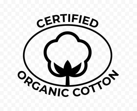Organic cotton certificate icon, cotton flower for natural eco and bio tags. Certified organic cotton logo stamp