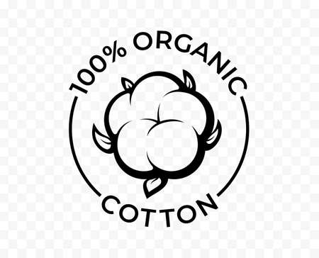 Cotton icon, organic eco and 100 natural bio products, vector cotton flower logo