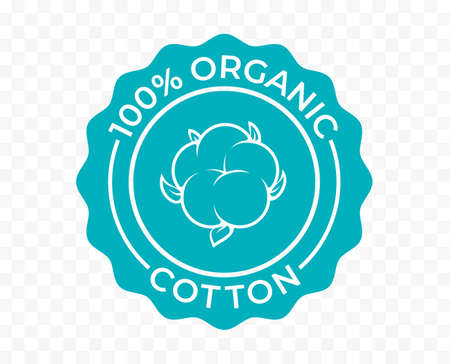 Cotton, 100 organic eco icon and bio natural vector logo. Natural cotton tag for green bio and eco green stamp