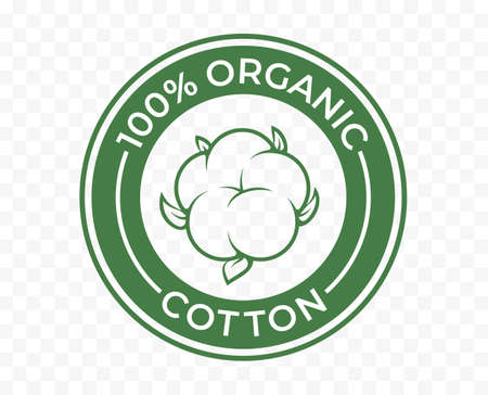Organic cotton icon, 100 natural bio and eco product vector logo. 100 percent organic cotton tag for textile clothes, green vegan cosmetics and sanitary pads or cosmetic ingredients Ilustrace