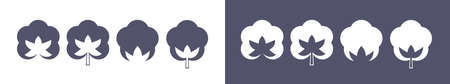 Cotton flower icons, organic eco and natural bio logo, vector set. Natural 100 cotton textile and cosmetic product tags