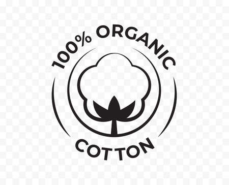 Cotton 100 organic icon, bio and eco natural product certificate logo, vector cotton flower stamp
