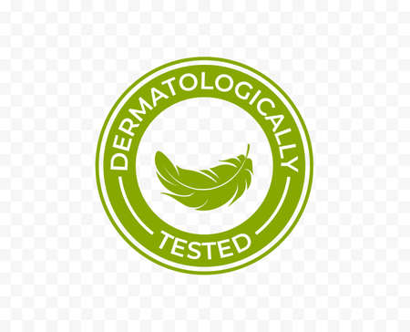 Dermatologically tested icon or label logo with feather, vector tags set for skin moisturizer and cosmetics. Clinically approved hypoallergenic and dermatology test certified stamp