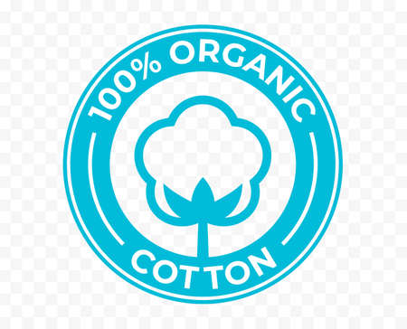 Organic cotton flower icon, 100 natural certificate vector logo. Cotton flower for eco bio organic textile and cosmetic products package stamp