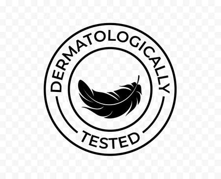 Dermatologically tested icon, hypoallergenic skincare products vector logo. Feather tag for dermatological tested moisturizer and skin cosmetics Stock Illustratie