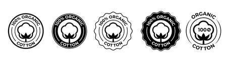 Cotton organic 100 icons, cotton flower logo for natural eco and bio vector stamps on textile fabrics and skincare cosmetics certificate