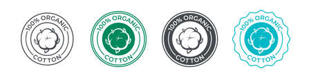 Cotton, organic 100 icon, flower vector logo for eco and natural bio soft fabric. 100 percent cotton badge for textile clothes, green vegan cosmetics and sanitary hygienic pads or tampons