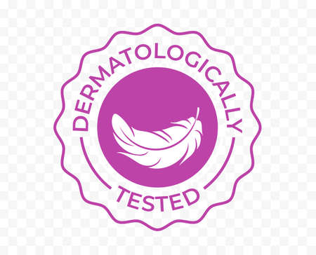 Dermatologically tested icon, hypoallergenic feather tag, vector logo for skincare medical and clinically approved cosmetics, liquid soap and cream moisturizer Stock Illustratie