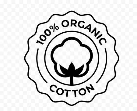 Cotton 100 organic bio and eco certificate icon, vector package stamp. Cotton flower logo for certified natural eco textile fabric and bio soft cosmetics