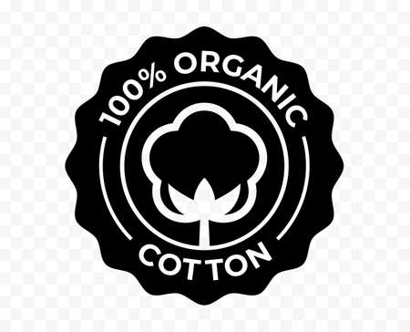Cotton flower organic icon, eco natural and bio certificate stamp, vector. 100 percent organic cotton certified products quality logo