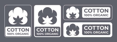 Cotton 100% organic natural fabric logo, vector cotton flower labels for clothes tag and quality certificates Stock Illustratie
