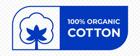Cotton icon, organic natural fabric logo and clothes vector label, 100% cotton quality certificate stamp tag Logo
