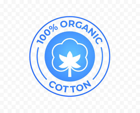 Cotton icon, 100% organic natural logo, vector label for cotton fabric clothes tag and quality certificate stamp