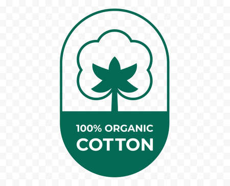 Cotton icon, fabric logo organic natural 100% cotton, vector quality certificate and clothes label