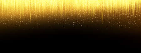 Gold confetti background, golden glitter falling, vector carnival celebration party glisten gold and glister light sparkles