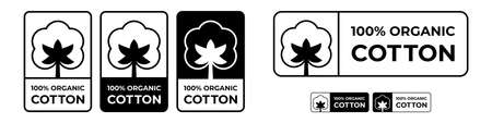 Cotton fabric logo labels and icons, organic natural cotton quality vector flower 100% stamps Stock Illustratie