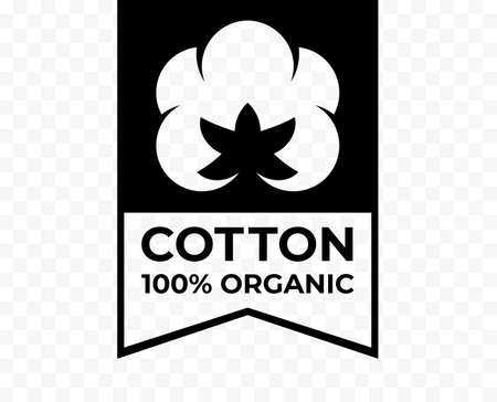 Cotton 100% organic tag, natural fabric logo icon, vector cotton flower quality certificate label Ilustrace