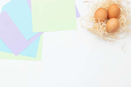 DIY Childrens Easter craft bunny with an egg. Step1 Easter paper step by step instructions. Happy bunny holds egg. Childrens Art Project, needlework, crafts for children, springtime.