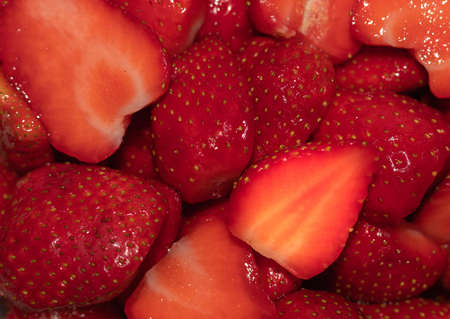red chopped strawberries for a healthy dessert of fresh and digestive fruits