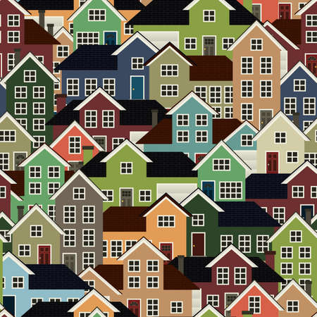 A seamlessly repeatable background depicting a crowded residential neighborhood  Vectores